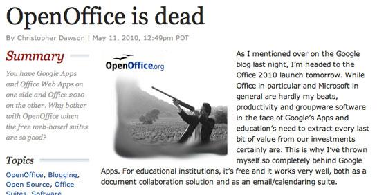 OpenOffice is Dead