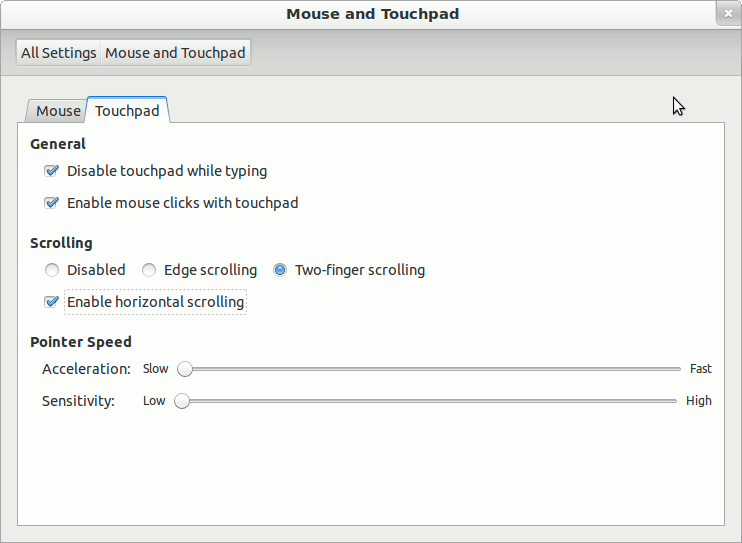 ubuntu's touchpad settings