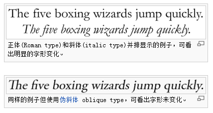 italic and oblique's example